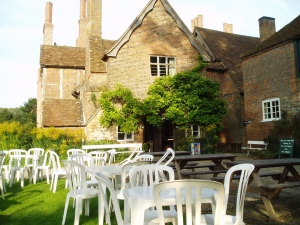 Outside the tea room at Mapledurham House and Mill