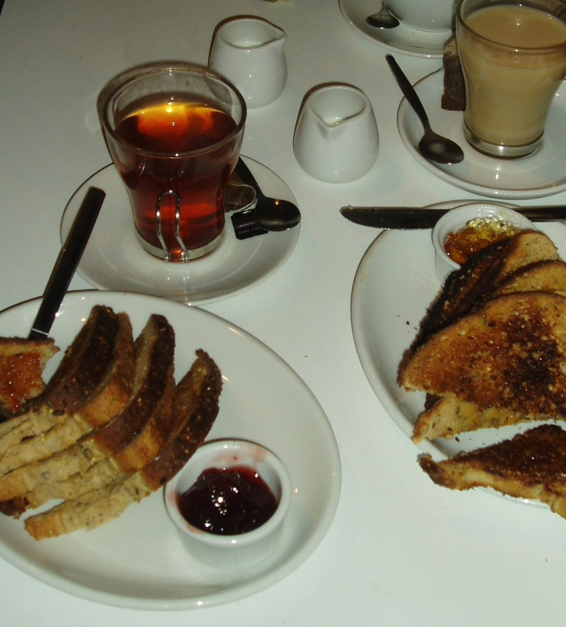 Tea and toast in Cafe Moco