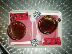 Two teas from a cafe in Bruxelles Midi train station