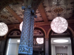 The ceiling of the room we ate in at the V&A cafe