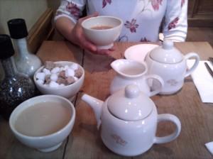 Tea in bowls at Le Pain Quotidien