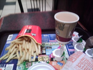 Tea and fries at McDonalds