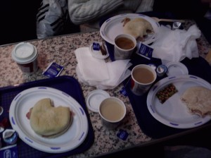Tea and bacon rolls on the Condor Express