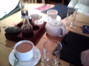 If this wasn't so blurry, you could see the tea and the cute seashell used for spooning out the salt.