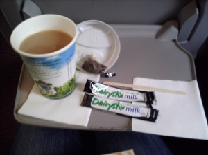 Tea and DairyStix on the train to Newcastle