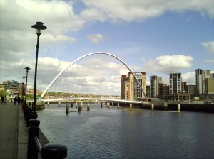 Millennium Bridge, with BALTIC on the right