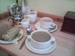 Tea, bread and soup at Shoemakers Cafe