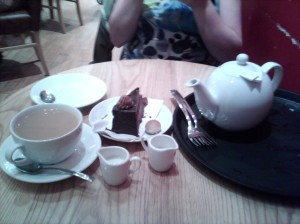 Tea and rich chocolate gateaux at Thorntons Cafe