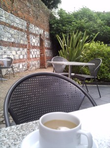 Tea outside the Winchester Cathedral Refectory