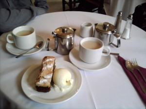 Amazing cake and ice cream and tea at the Mill Tea Rooms