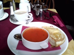 Tea and tomato soup with a Sally Lunn bun at Sally Lunn's