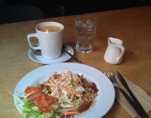 Salad and tea at Shed.