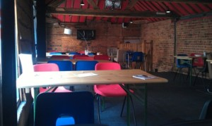 The spacious upstairs seating area at shed.