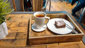 Tea and brownie at Manhattan Coffee Club.