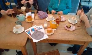 Tea and knitting at Siblings Home