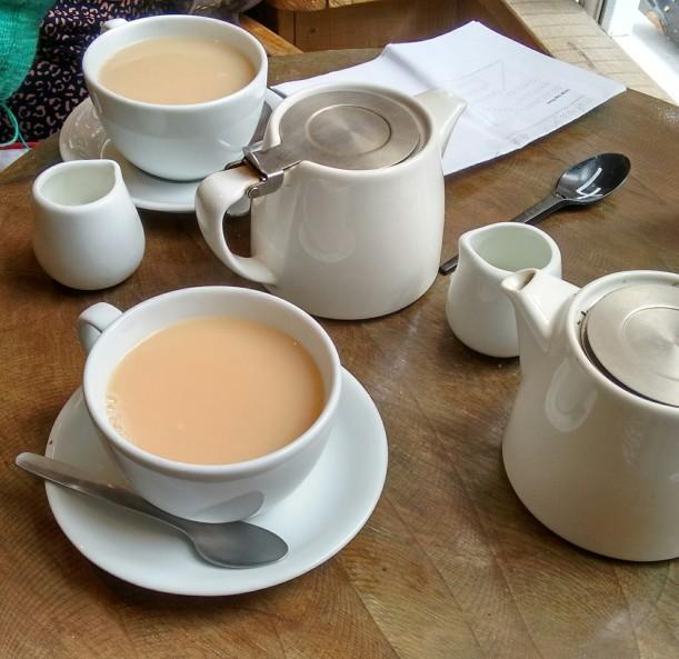 Pots of tea at Organic Deli